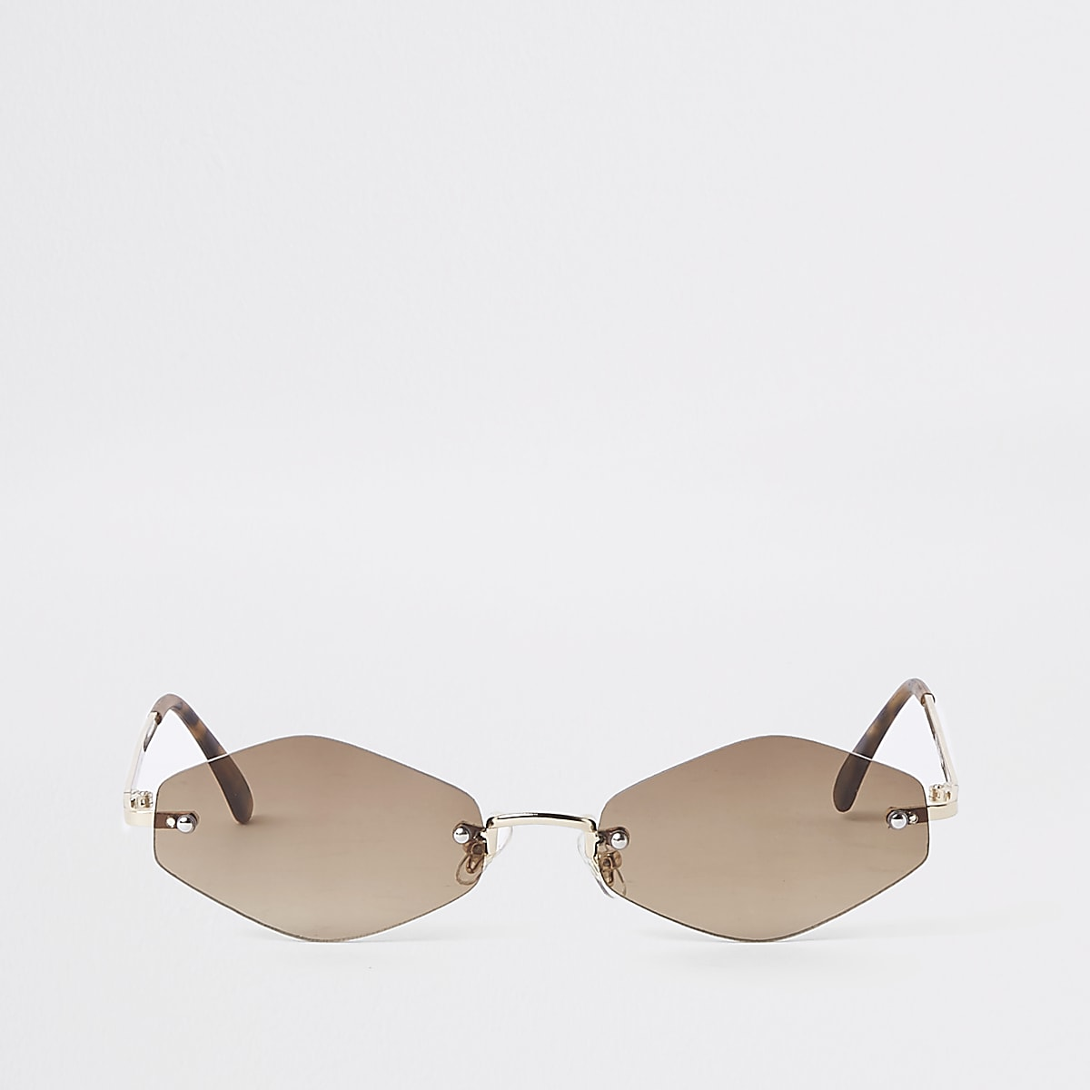 Gold tone slim hexagon sunglasses