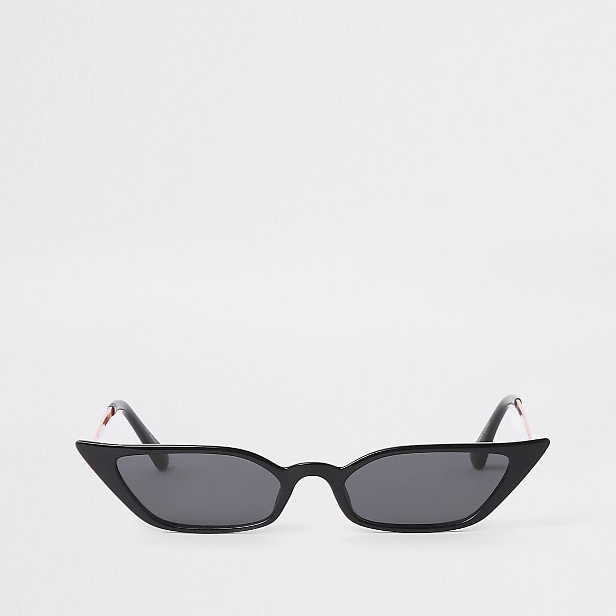 3cbba587e3836 Black super slim frame pointed sunglasses - Cat Eye Sunglasses - Sunglasses  - women