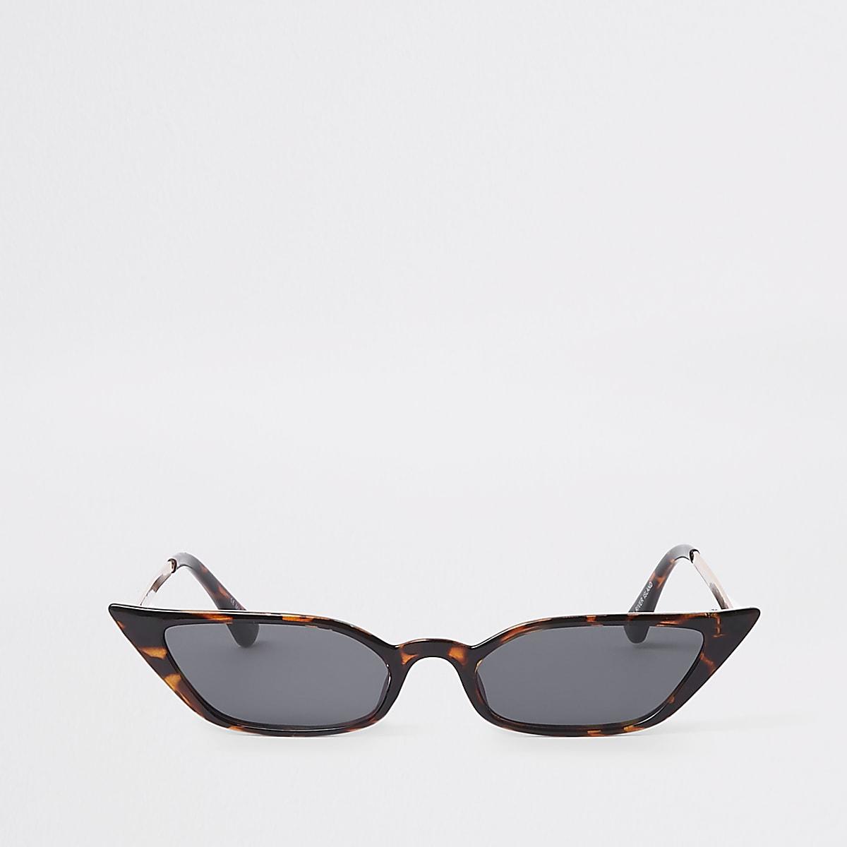 Bruine tortoise zonnebril met smal visor