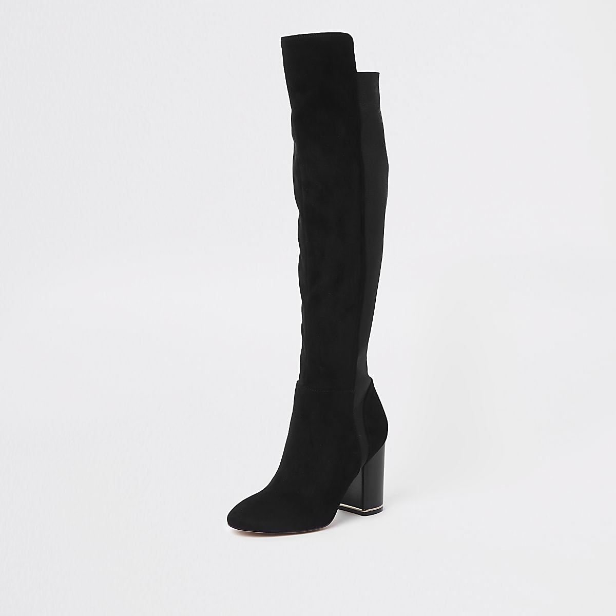 c3045b74aa7b Black suede over the knee block heel boots - Boots - Shoes   Boots ...