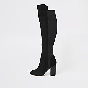 Black suede over the knee block heel boots