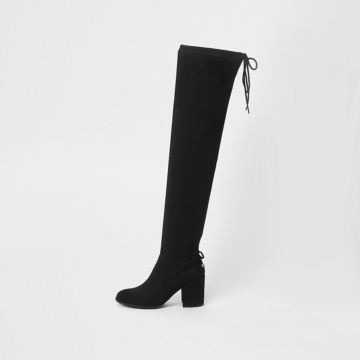 Schwarze Overknee-Stiefel aus Wildlederimitat