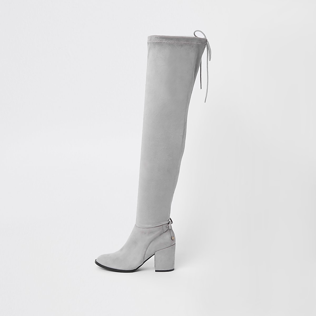 84b16ecb979 Grey faux suede over the knee boots - Boots - Shoes   Boots - women