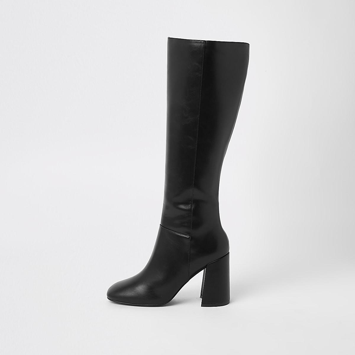 Black block heel knee high boots