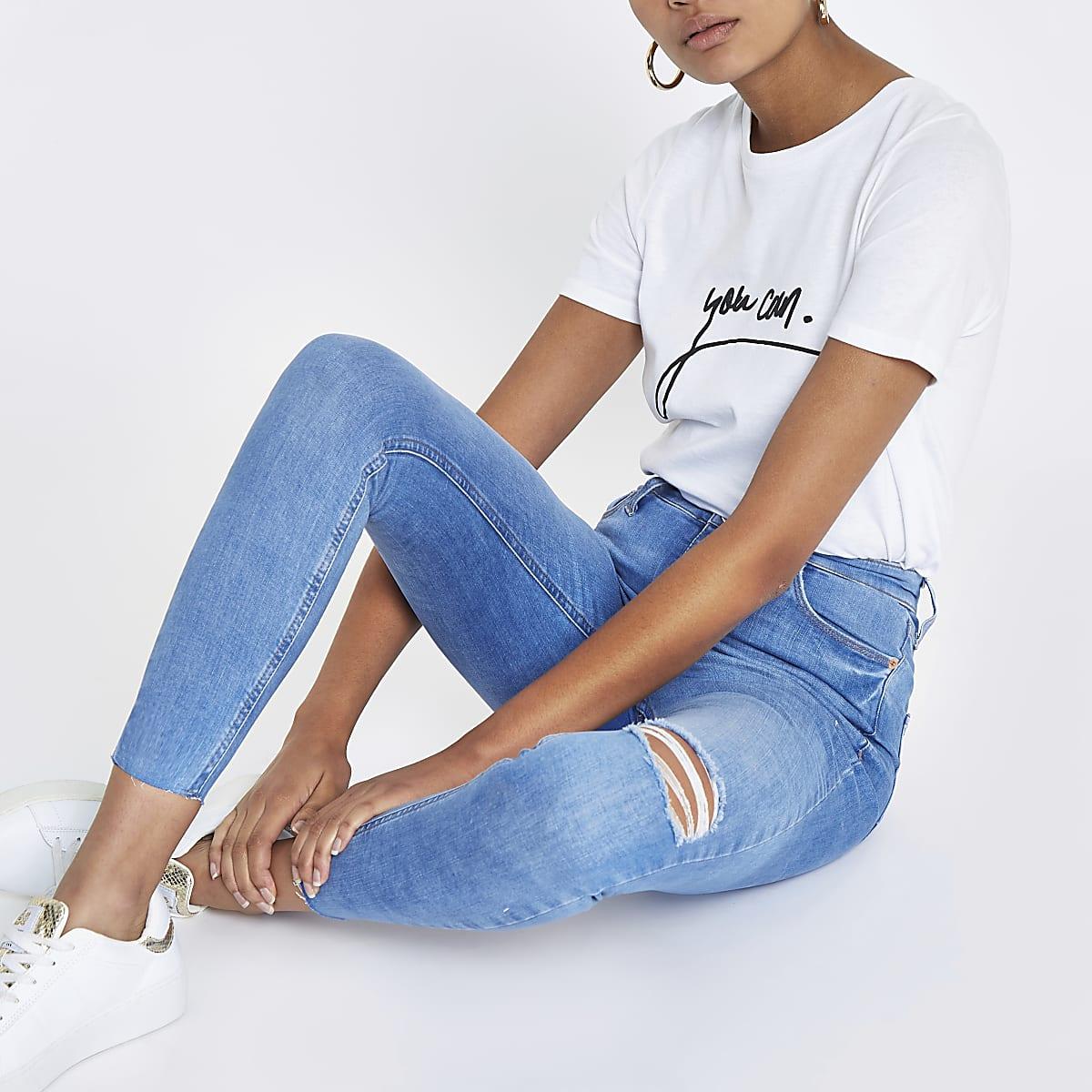 Bright blue Harper super skinny ripped jeans