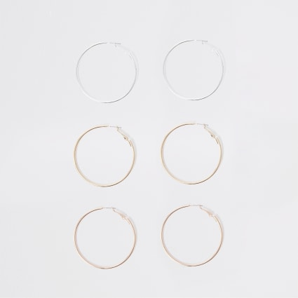 Mixed metal hoop earring multipack
