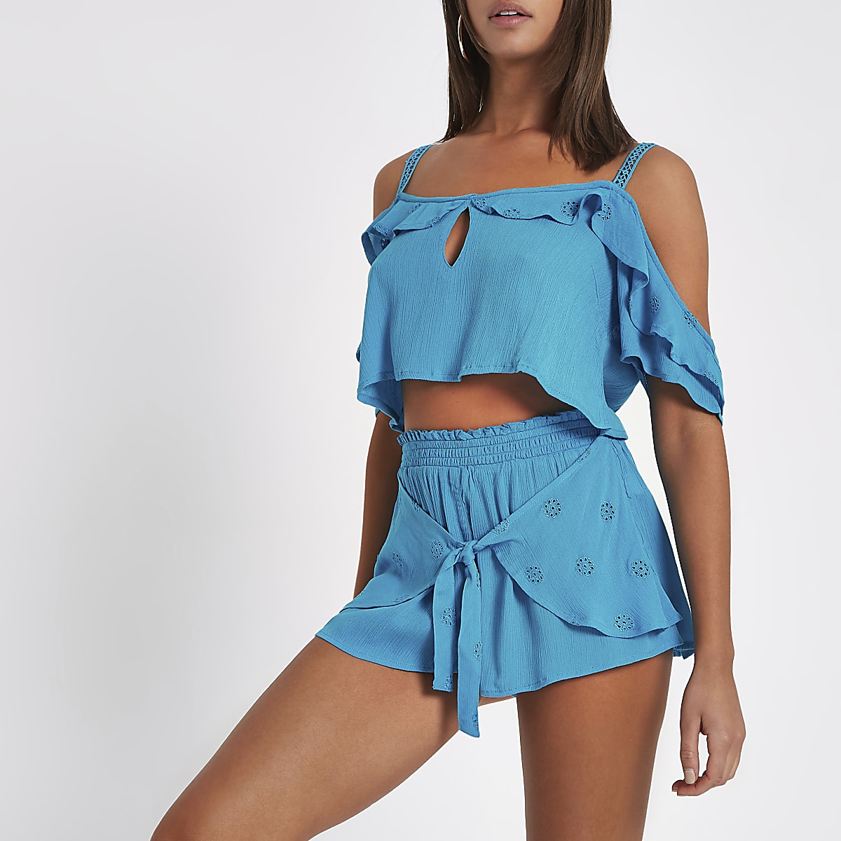 Blue broderie tie front beach shorts