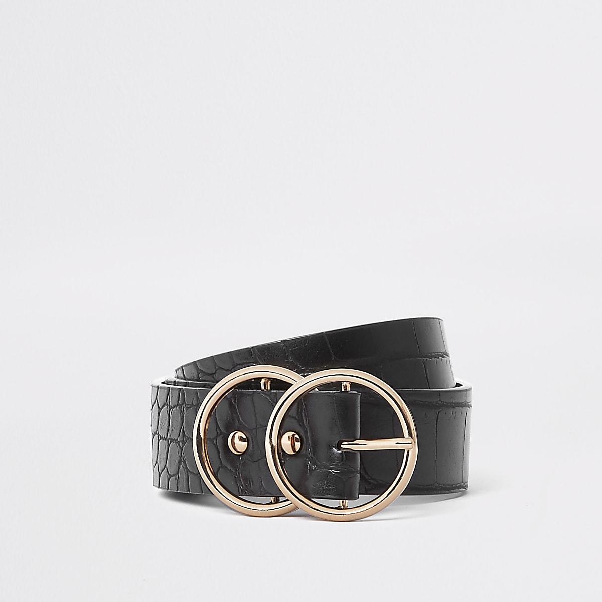 Black croc embossed double ring jeans belt