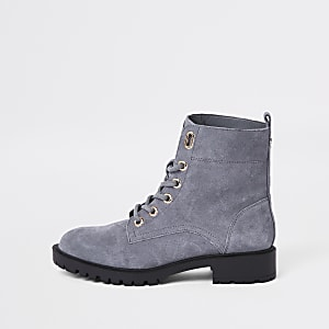 Grey suede lace-up hiking boots