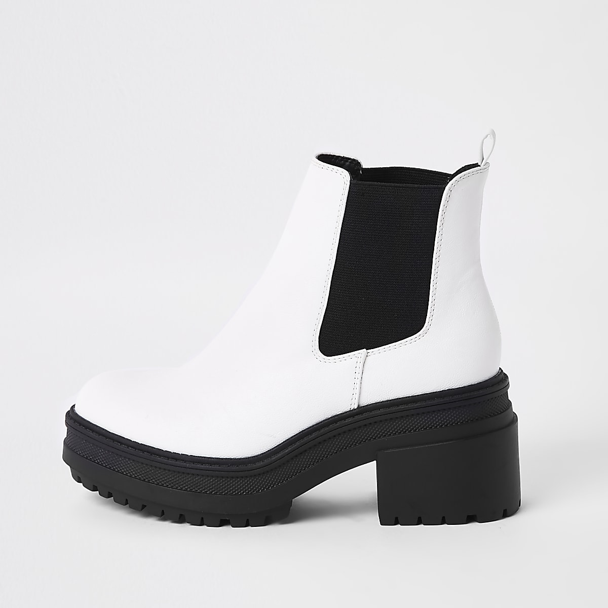 White chunky chelsea boots