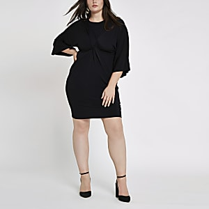 Plus black long sleeve knot front dress