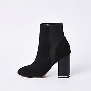 Black faux suede elasticated boots