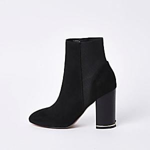 Zwarte elastische laarzen van imitatiesuède