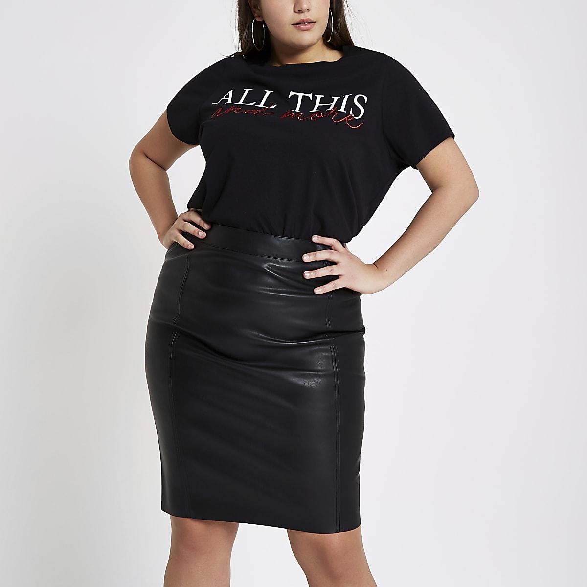 9c47c8c656 Plus black faux leather pencil skirt - Midi Skirts - Skirts - women