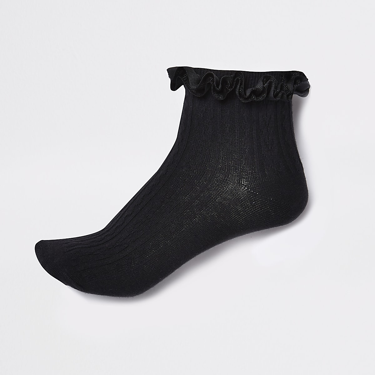 Black velvet cable knit frill ankle socks