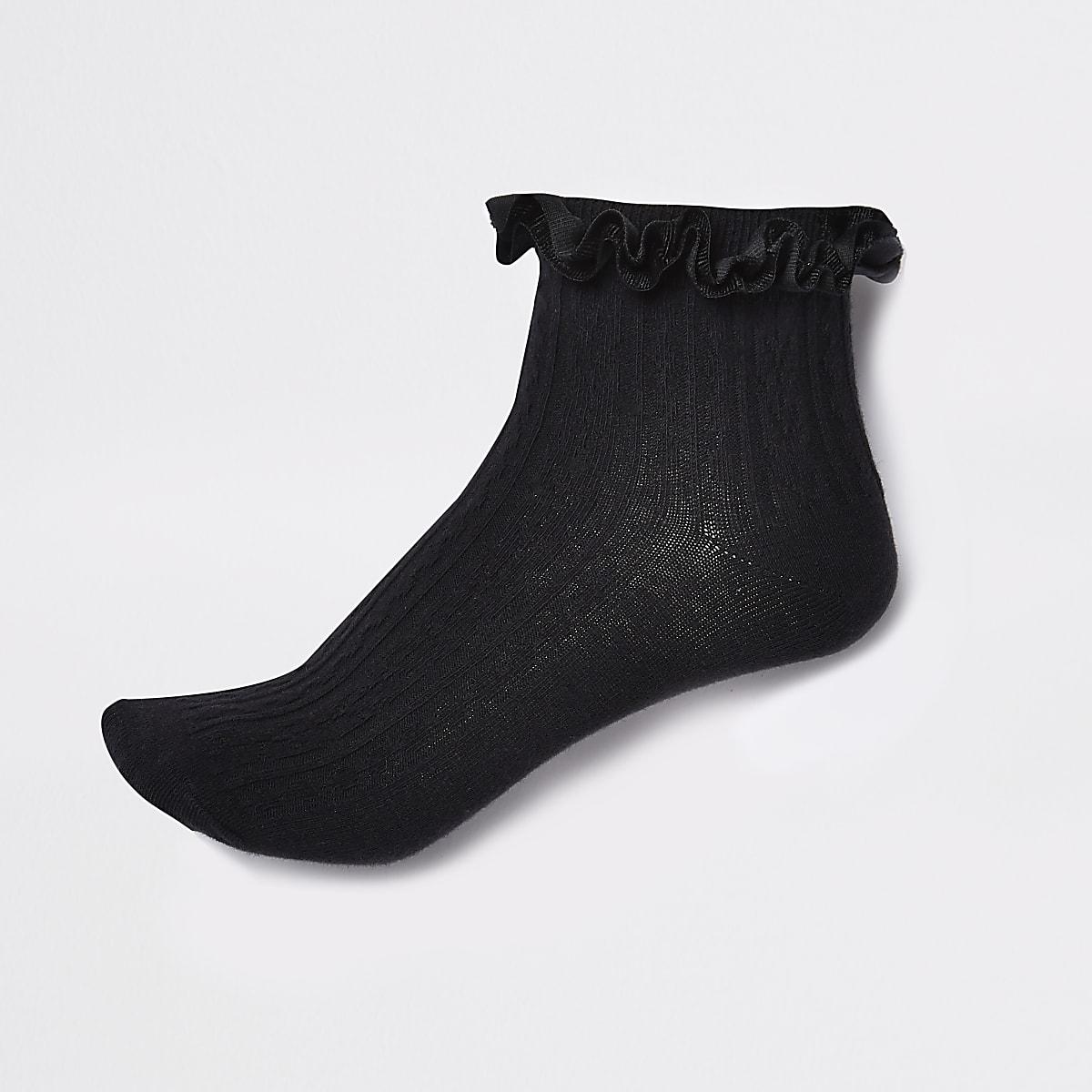 e98e36273 Black velvet cable knit frill ankle socks - Tights   Socks - women