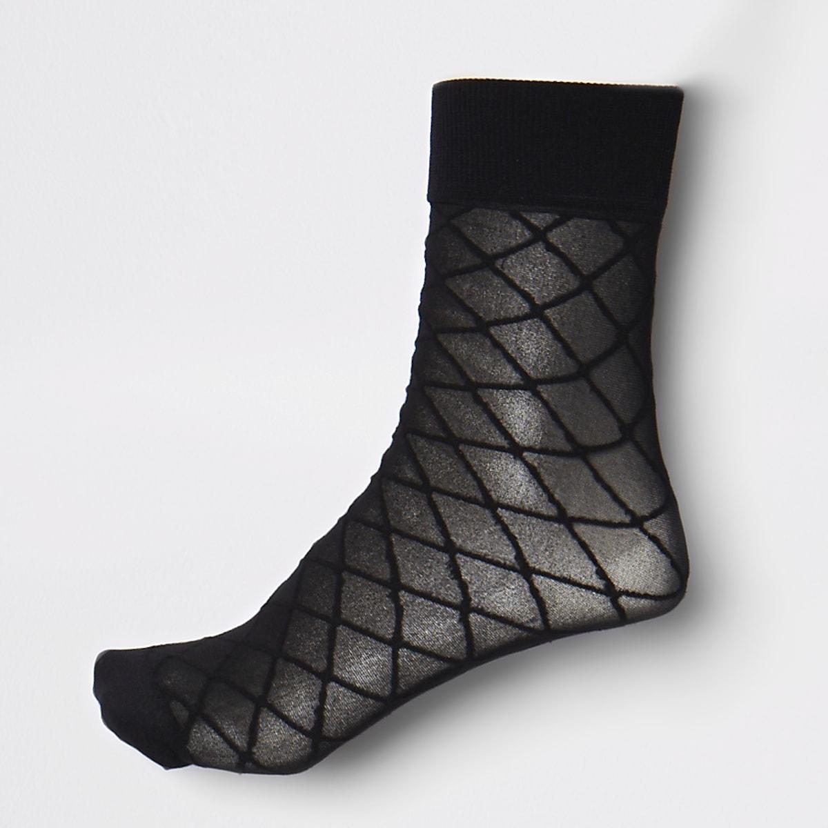 Schwarze Sneakersocken mit Rautenmuster