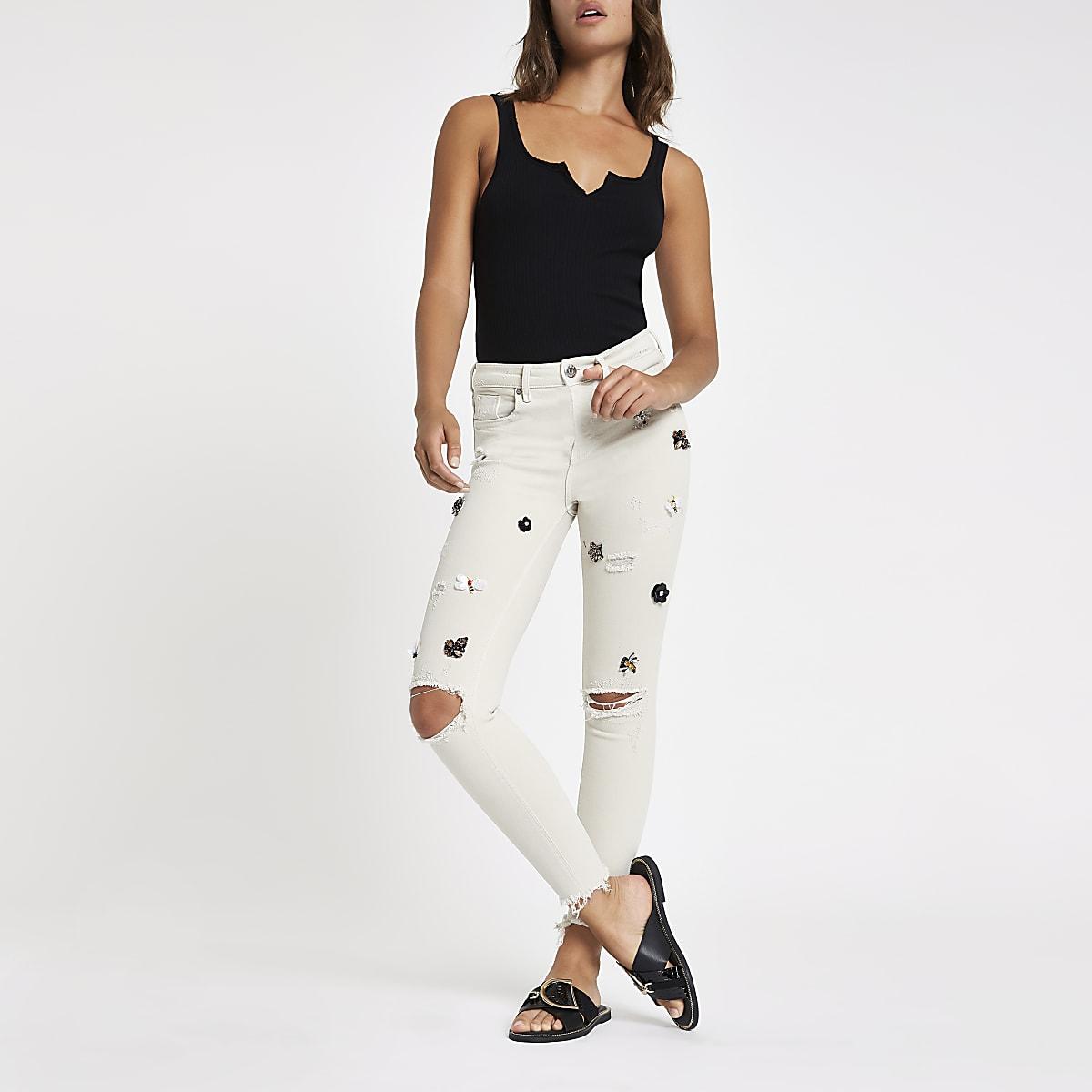 Grey Amelie embellished skinny jeans
