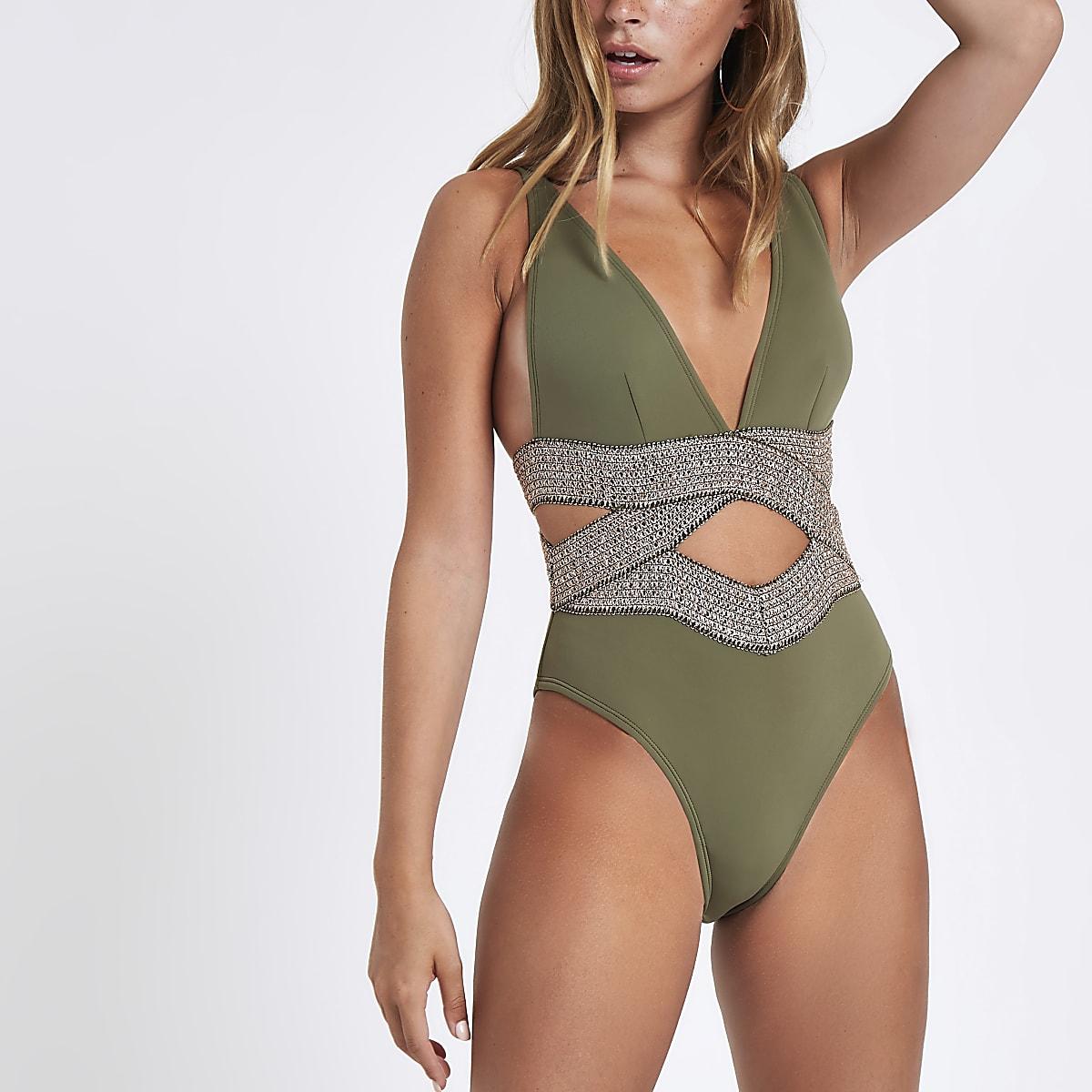 Petite khaki metallic elastic plunge swimsuit