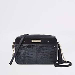 Zwarte vierkante crossbodytas met krokodillenreliëf