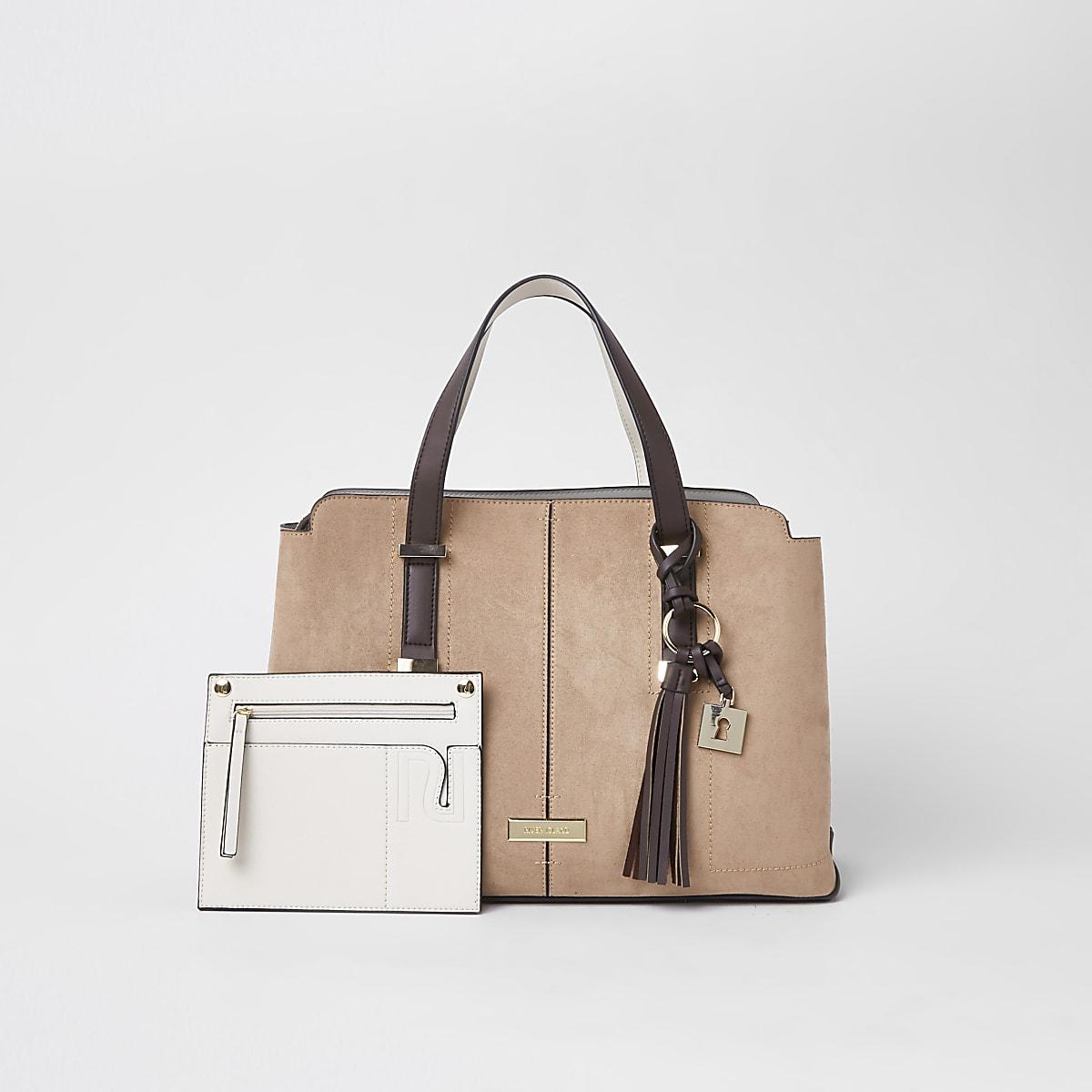 Beige triple compartment shopper bag