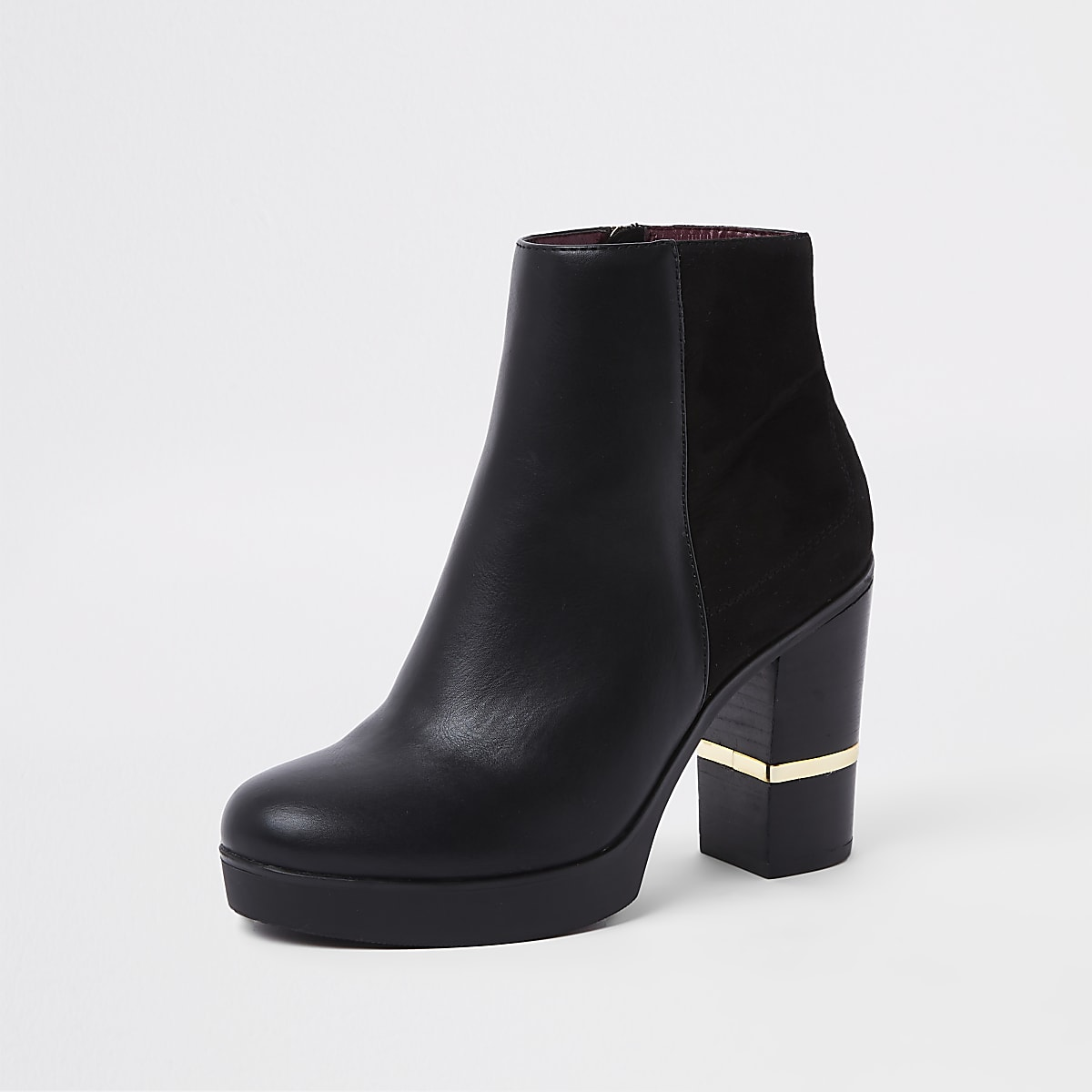 848c5b3f318 Black faux leather block heel ankle boots