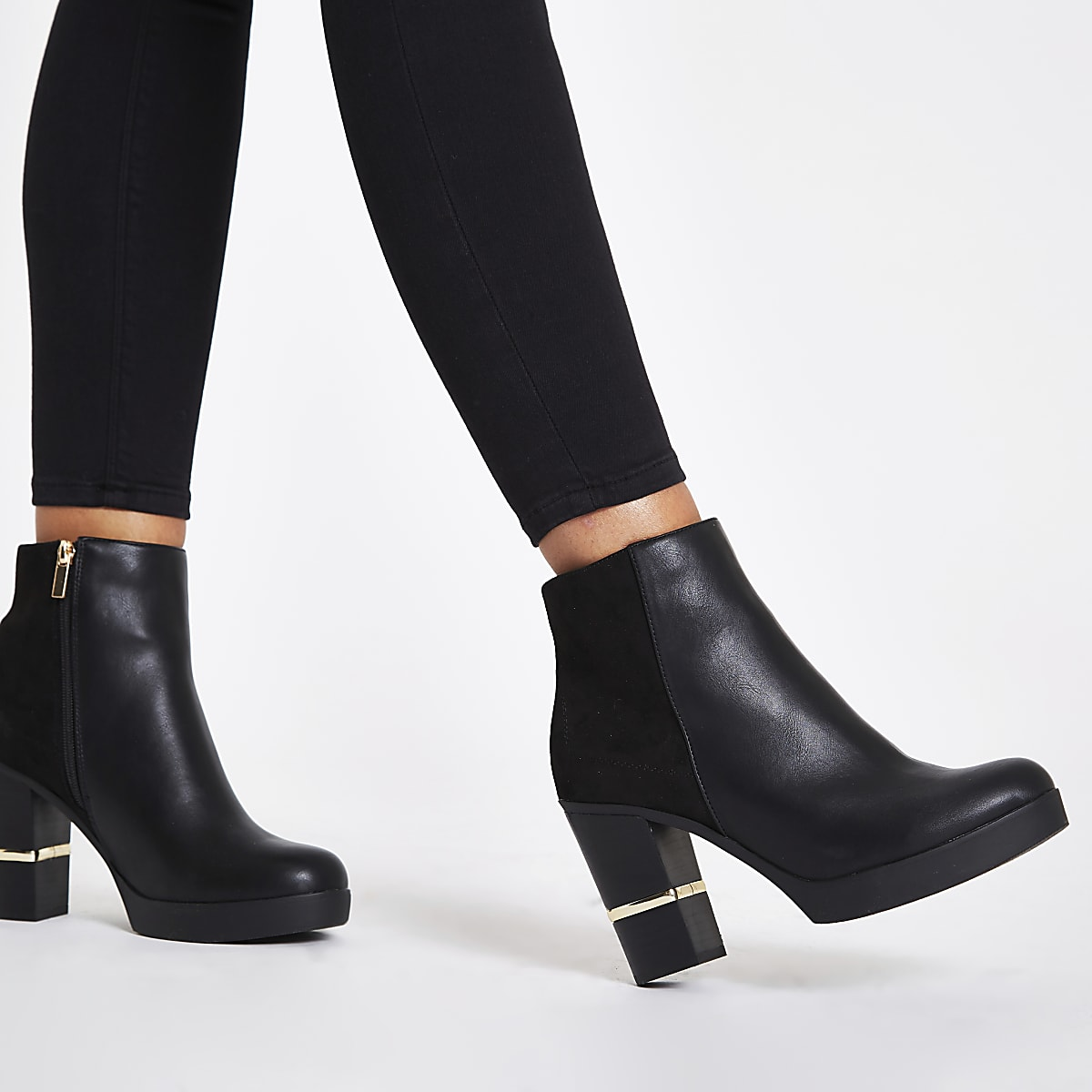 8f96777bb74 Black faux leather block heel ankle boots - Boots - Shoes   Boots ...