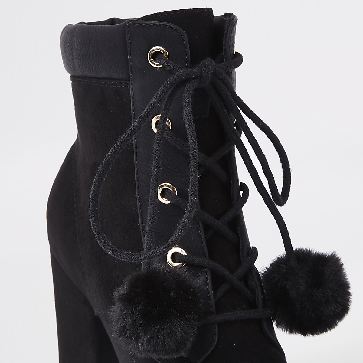 7a58924d7f31 Black lace-up pom pom chunky ankle boots - Boots - Shoes   Boots - women