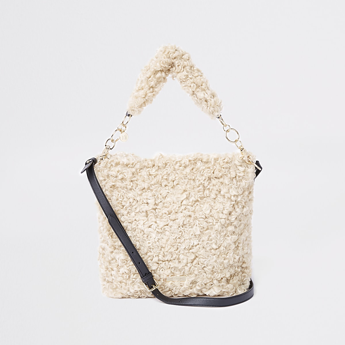 Beige textured borg slouch bag