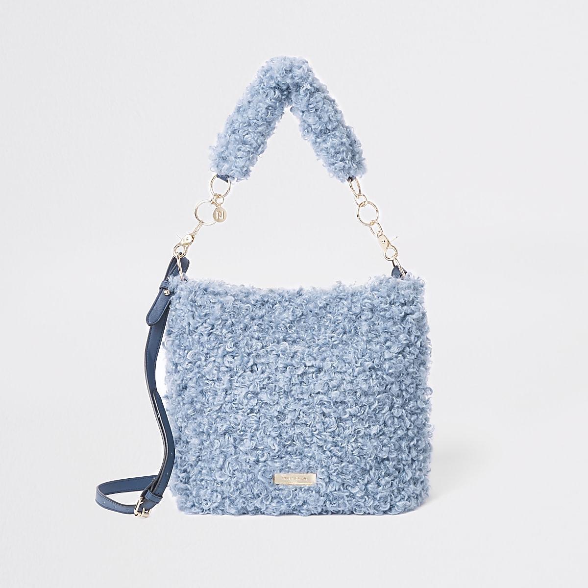 Blue textured borg slouch bag