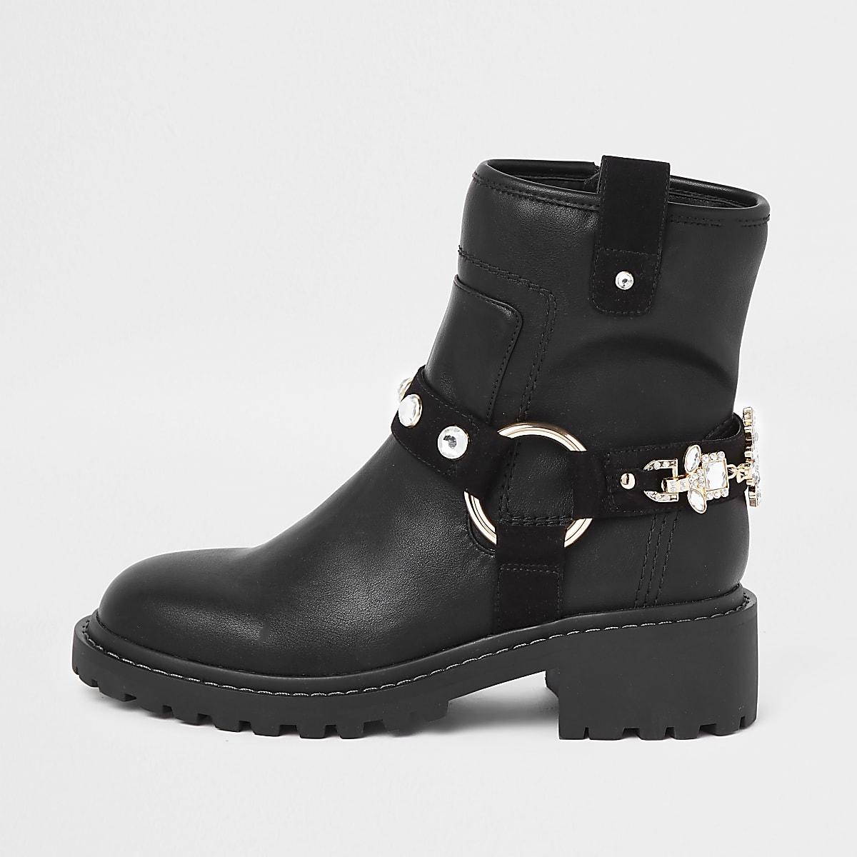 Black jewel embellished biker boots
