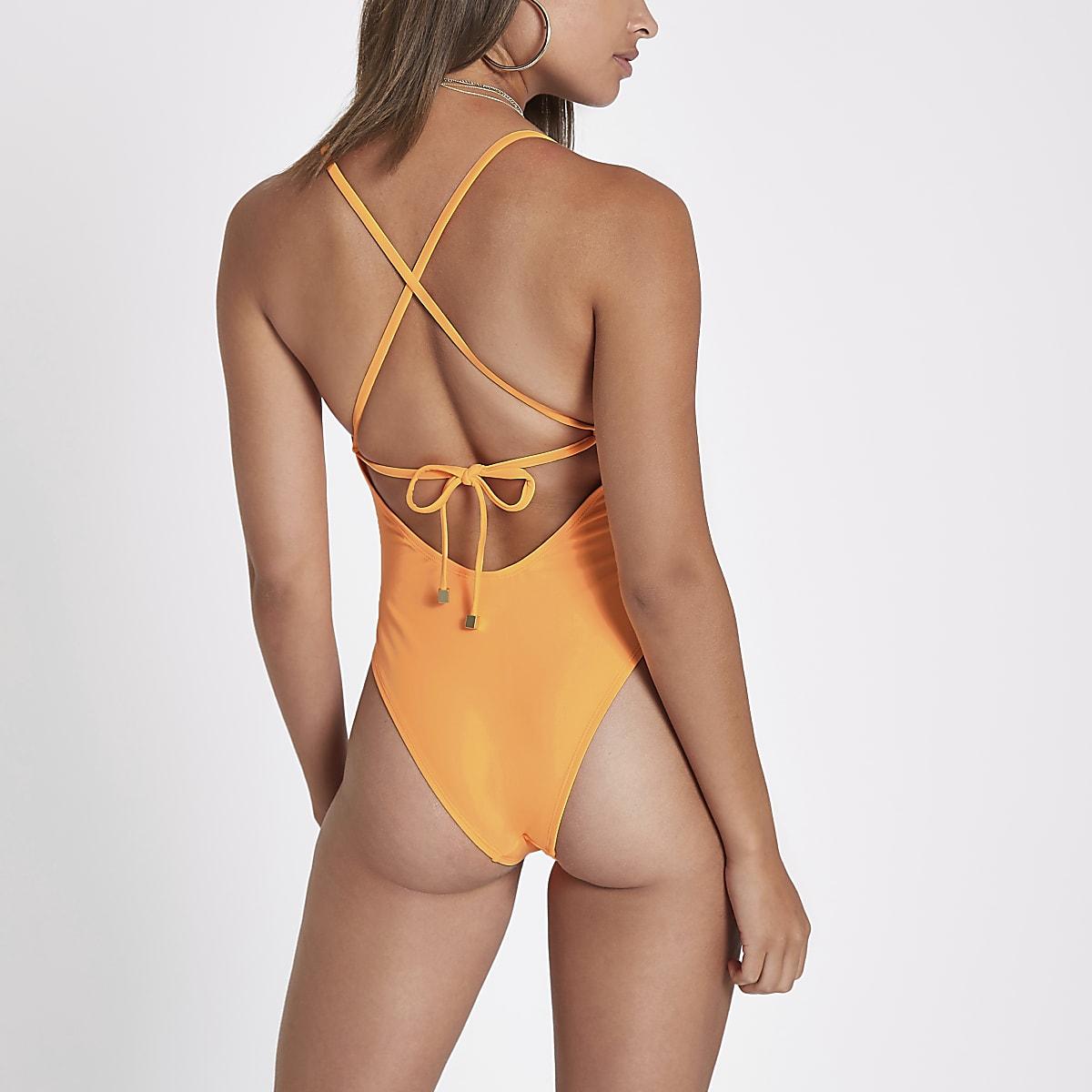 045a559c0dd36 Orange floral applique plunge swimsuit - Swimsuits - Swimwear & Beachwear -  women