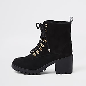 Black faux fur lace-up chunky hiking boots