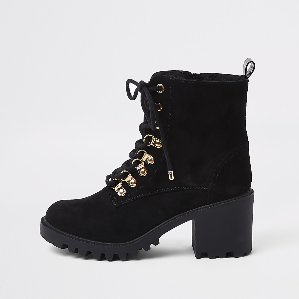 2077a1d95cc2b Black faux fur lace-up chunky hiking boots - Boots - Shoes   Boots - women