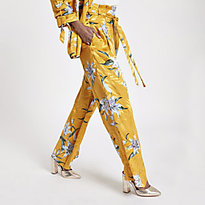 Petite yellow floral wide leg trousers