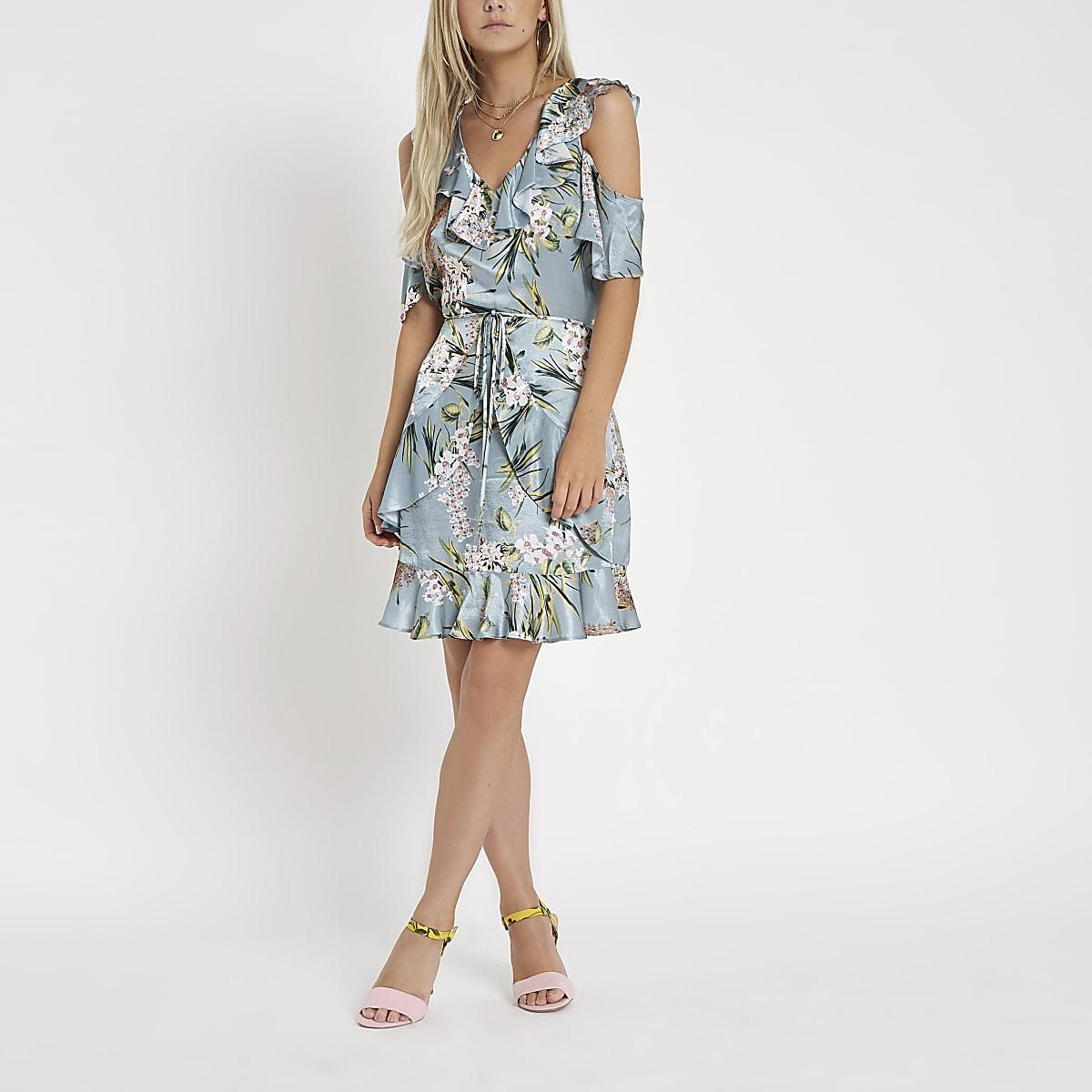 Petite blue floral wrap tea dress