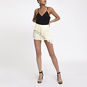 White embroidered frill skort