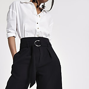 Black ring tie belted culottes
