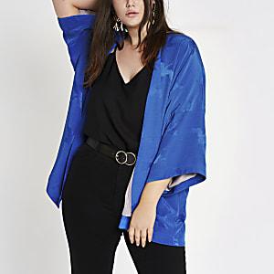 Plus blue jacquard kimono