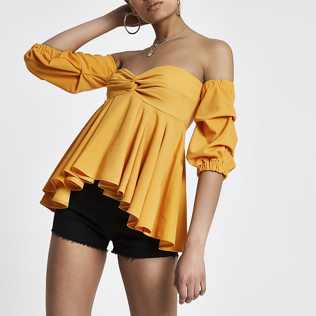 316b76d7ad280 Yellow puff sleeve peplum bardot top - Bardot   Cold Shoulder Tops - Tops -  women