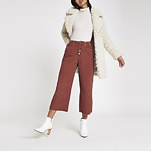 Dark red Alexa crop cord wide leg trousers