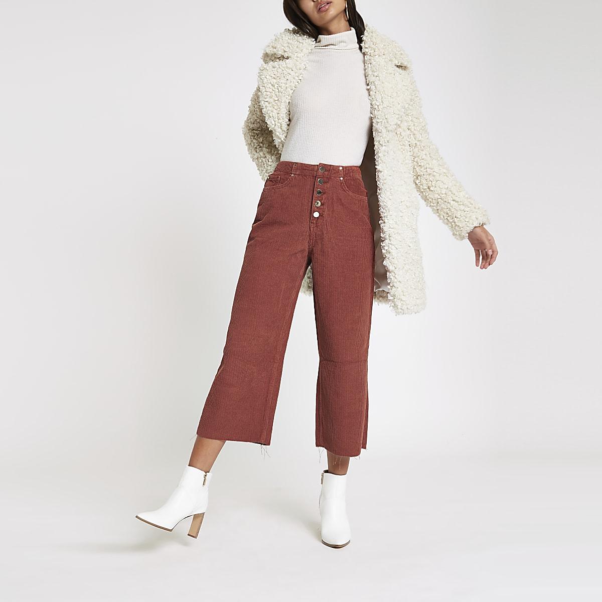 Alexa - Donkerrode cropped corduroy broek met wijde pijpen