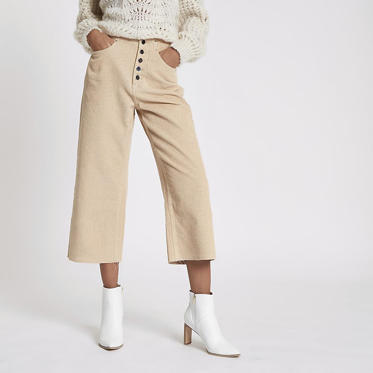 Alexa - Perzikkleurige cropped corduroy broek met wijde pijpen
