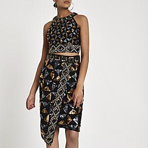 Black geo sequin embellished pencil skirt