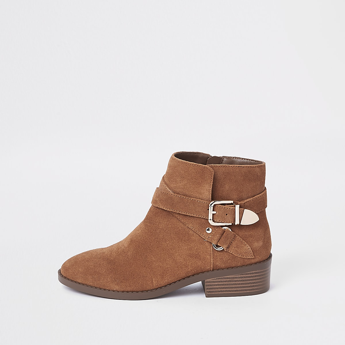 ce58819dce93e Light brown suede double buckle ankle boot - Boots - Shoes   Boots ...