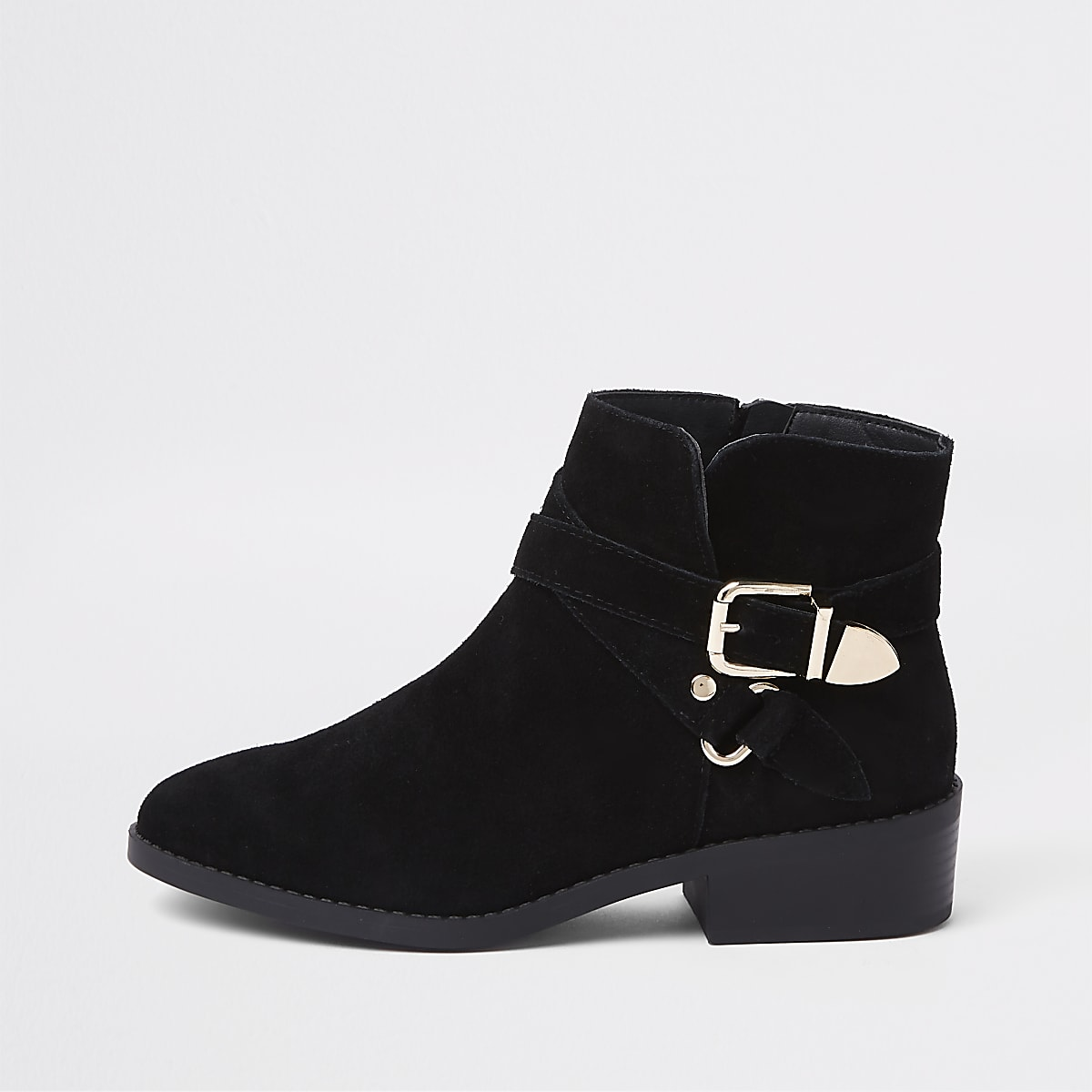 5e6d605822a Black wide fit suede buckle ankle boots - Boots - Shoes   Boots - women