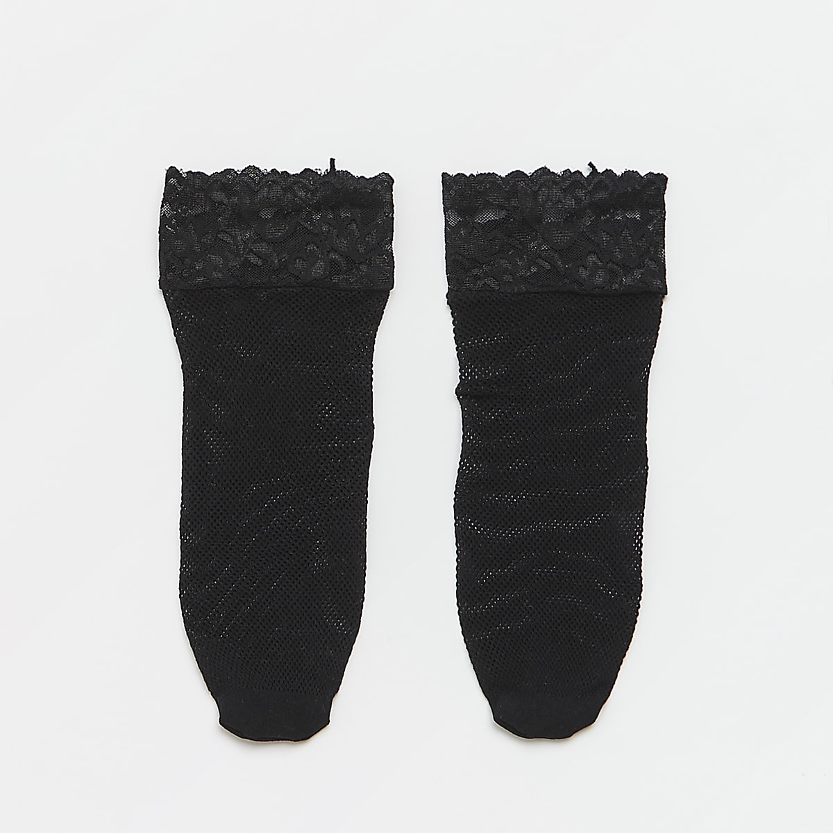 Black lace fishnet sock
