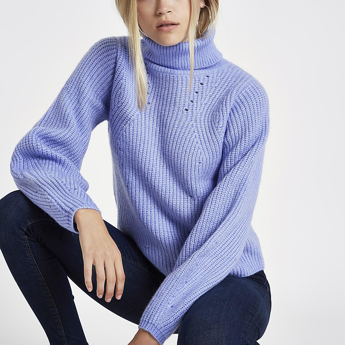 Light blue knitted roll neck jumper