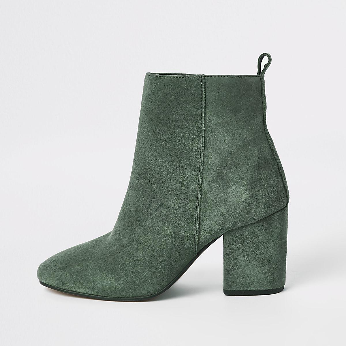 Groene leren laarzen met vierkante neus