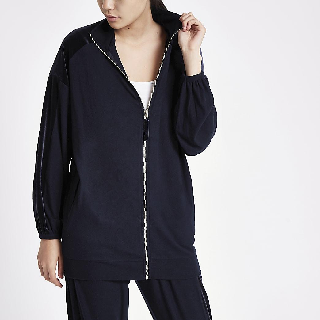 Marineblauw oversized loungewear jack met rits